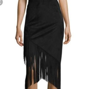 Bisou Bisou Black Faux Suede Pencil Skirt